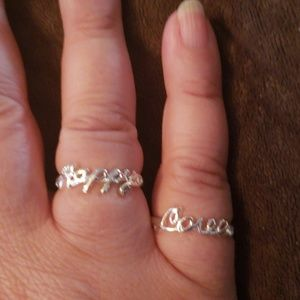 Two Avon Silver Tone Rings Happy and Love Size 8